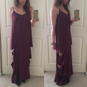 Burgundy Cameo Dress With Cut Out Details.